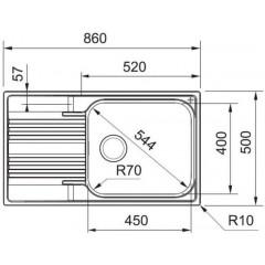 Franke Dřez SRX 611-86 LB, 860x500 mm, nerez 101.0395.055