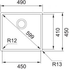 Franke Dřez BXX 210/110-45, 490 x 450 mm, nerez 127.0395.014