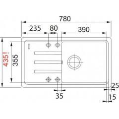 Franke Fragranitový dřez BSG 611-78/39, 780 x 435 mm, onyx 114.0395.152