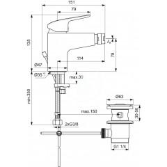 Ideal Standard Bidetová baterie s výpustí, chrom B1718AA