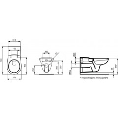 Ideal Standard Závěsné WC bezbariérové, bílá V340401