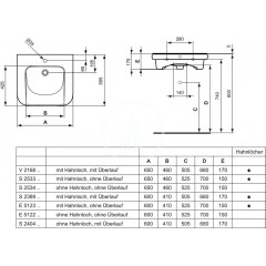 Ideal Standard Umyvadlo bezbariérové, 600x175x555 mm, 1 otvor pro baterii, bílá S238901
