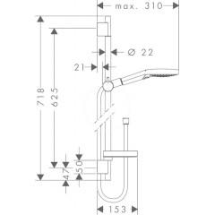 Hansgrohe Sprchová souprava 120 3jet P se sprchovou tyčí 650 mm, chrom 27654000