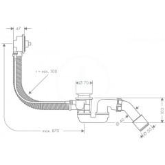 Hansgrohe Základní těleso pro vrchní sadu s odtokovou a přepadovou soupravou pro speciální vany 58141180