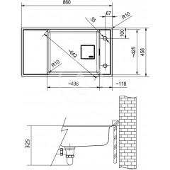 Franke Fragranitový dřez FSG 211/111, 860x458 mm, onyx 135.0539.538