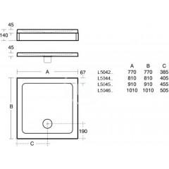 Ideal Standard Sprchová vanička litý mramor 910 x 910 mm, bílá L504501
