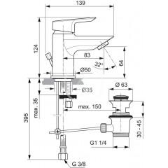 Ideal Standard Umyvadlová baterie Piccolo, s odtokovou soupravou, chrom A6566AA