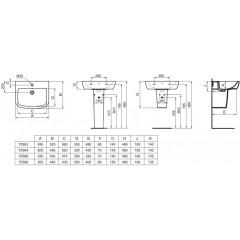 Ideal Standard Umyvadlo 600x495x185 mm, s 1 otvorem pro baterii, bílá T058401
