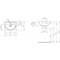 Ideal Standard Umývátko 500x350x195 mm, 1 otvor pro baterii, bílá V200101