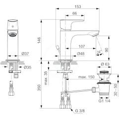 Ideal Standard Umyvadlová baterie Slim s výpustí, chrom A7007AA