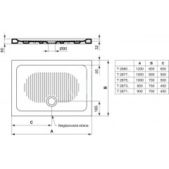 Ideal Standard Keramická sprchová vanička 1200x800 mm, bílá T268001
