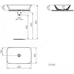 Ideal Standard Umyvadlo na desku 600x400x130 mm, bílá E034801