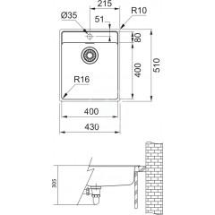 Franke Dřez MRX 210/610-40 TL, 430x510x180 mm, nerez 127.0539.571