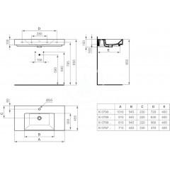 Ideal Standard Nábytkové umyvadlo 1010x455x150 mm, bílá K080901