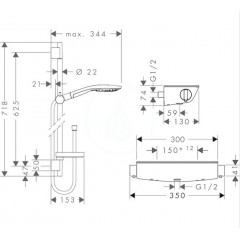Hansgrohe Sprchový set s termostatem, 150 mm, 3 proudy, bílá/chrom 27036400