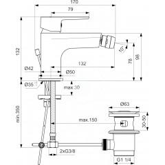 Ideal Standard Bidetová baterie s výpustí, chrom BC206AA