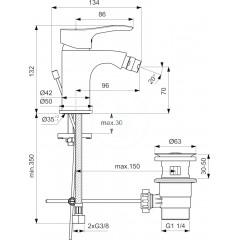Ideal Standard Bidetová baterie s výpustí, chrom BC317AA