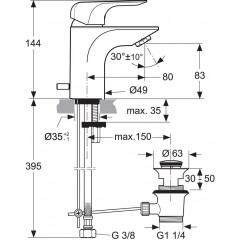 Ideal Standard Umyvadlová baterie Piccolo s odtokovou soupravou, chrom A6842AA