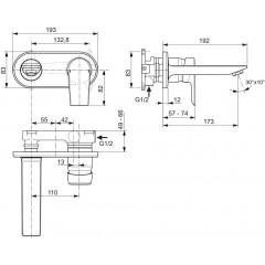 Ideal Standard Umyvadlová baterie pod omítku, chrom A6578AA