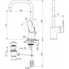 Ideal Standard Páková umyvadlová baterie s otočným vývodem, s odtokovou soupravou, chrom A6571AA
