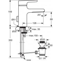 Ideal Standard Umyvadlová baterie s výpustí, chrom A4598AA