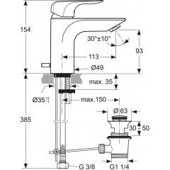 Ideal Standard Umyvadlová baterie, s odtokovou soupravou, chrom A6897AA