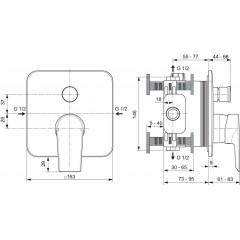 Ideal Standard Vanová baterie pod omítku, chrom A6586AA