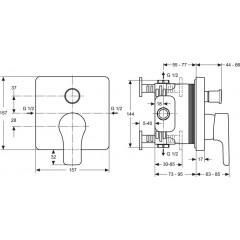 Ideal Standard Vanová baterie pod omítku, chrom A4758AA