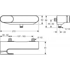 Ideal Standard Páková sprchová baterie nástěnná, chrom A3910AA