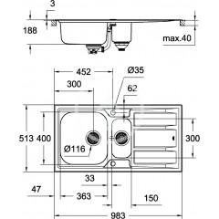 Grohe Dřez K400+, 983x513 mm, s automatickým odtokem, kartáčovaná nerez ocel 31569SD0