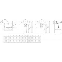 Ideal Standard Umyvadlo 650x525x185 mm, s 1 otvorem pro baterii, bílá T056301