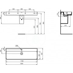 Ideal Standard Umyvadlo 1200x430 mm s otvorem pro baterii, bílá T300601
