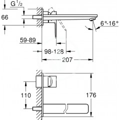 Grohe Umyvadlová baterie L pod omítku, 2-otvorová instalace, chrom 23444001
