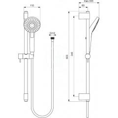 Ideal Standard Sprchová souprava Circle, tyč 600 mm s ruční sprchou, 3 proudy, chrom B2233AA