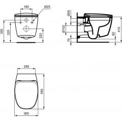 Ideal Standard Závěsné WC, 365x550x350 mm, Rimless, bílá T331601