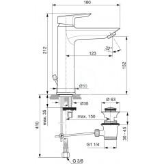 Ideal Standard Umyvadlová baterie Grande, s odtokovou soupravou, chrom A6563AA