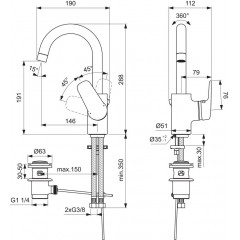 Ideal Standard Umyvadlová baterie s otočným výtokem, chrom B1716AA