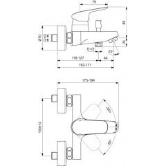 Ideal Standard Vanová nástěnná baterie, chrom B1721AA