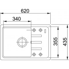 Franke Fragranitový dřez BSG 611-62, 620x435 mm, bílá-led 114.0440.889