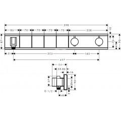 Hansgrohe Baterie pod omítku pro 4 spotřebiče, bílá/chrom 15357400