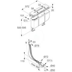 Kludi Set odtokové soupravy a tělesa na okraj vany, pro 3-otvorovou baterii 7881205-00