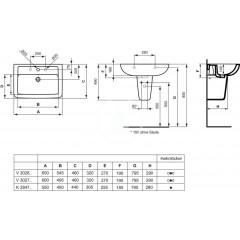 Ideal Standard Umyvadlo 550x440x185 mm, 1 otvor pro baterii, bílá K284701