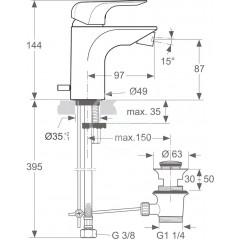 Ideal Standard Bidetová baterie s odtokovou soupravou, 5 l/min, chrom A6845AA