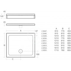 Ideal Standard Sprchová vanička 1210x810 mm, bílá L505101