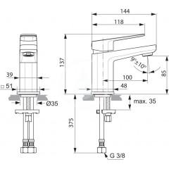 Ideal Standard Umyvadlová baterie Piccolo, chrom A6331AA