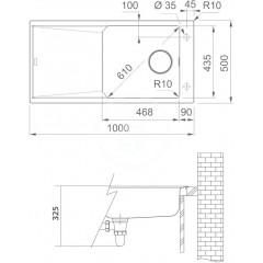Franke Fragranitový dřez FXG 611-100, 1000x500 mm, šedý kámen 114.0540.819