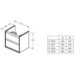 Ideal Standard Skříňka pod umyvadlo CUBE 600 mm, světlé dřevo/matný světle hnědý lak E1606UK