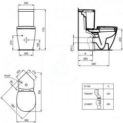 Ideal Standard Splachovací nádrž do rohu, spodní napouštění, bílá E119101