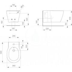 Ideal Standard Závěsný bidet, 360x540x300 mm, bílá E712601