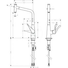 Hansgrohe Páková dřezová baterie 320 s vytahovacím výtokem, chrom 14884000